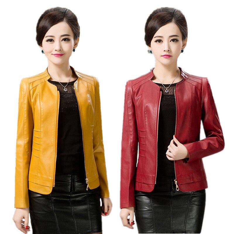 Women   Leather   Jacket Winter Autumn 2018 Plus Size   Leather   Jacket Women Slim Long Sleeve Faux   Leather   Coat Female Outerwear 4XL