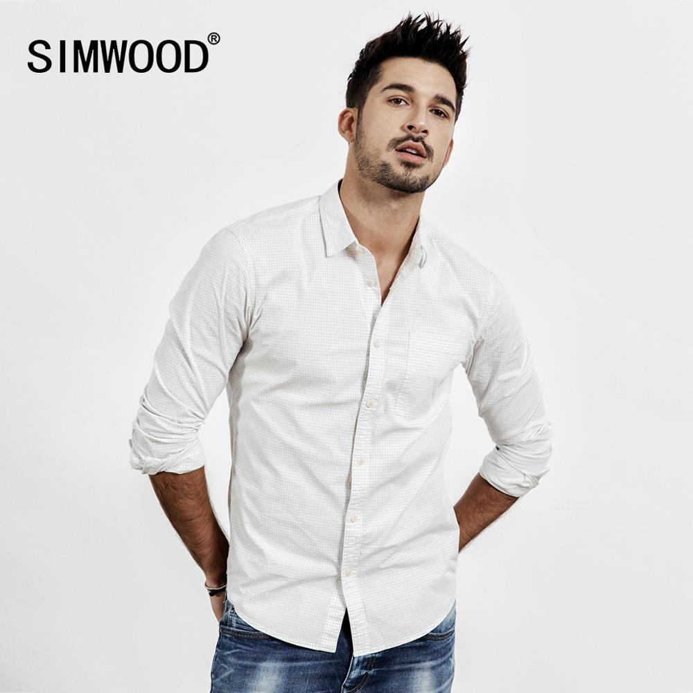 SIMWOOD 2019 autumn Summer Casual Plaid Shirts Men High Quality micro check shirt Male plus size high quality clothing 190214