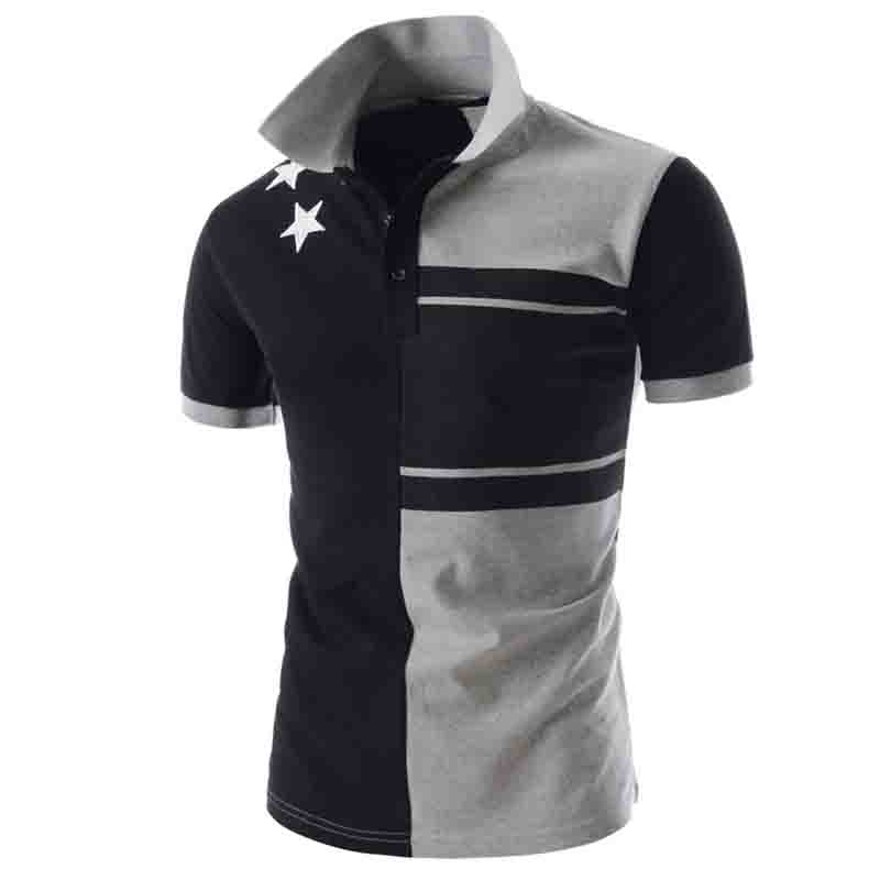 HOT 2019 Business short sleeved mens shirt slim fashion   POLOS   patchwork   polo   shirt men breathable camisa masculina blusas homme