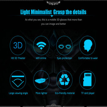 MEAFO VR Box 3.0 Pro Glasses HMD-518S WIFI Andriod 4.4 3D Video Movie Game Glasses Theater 1280P 80 5