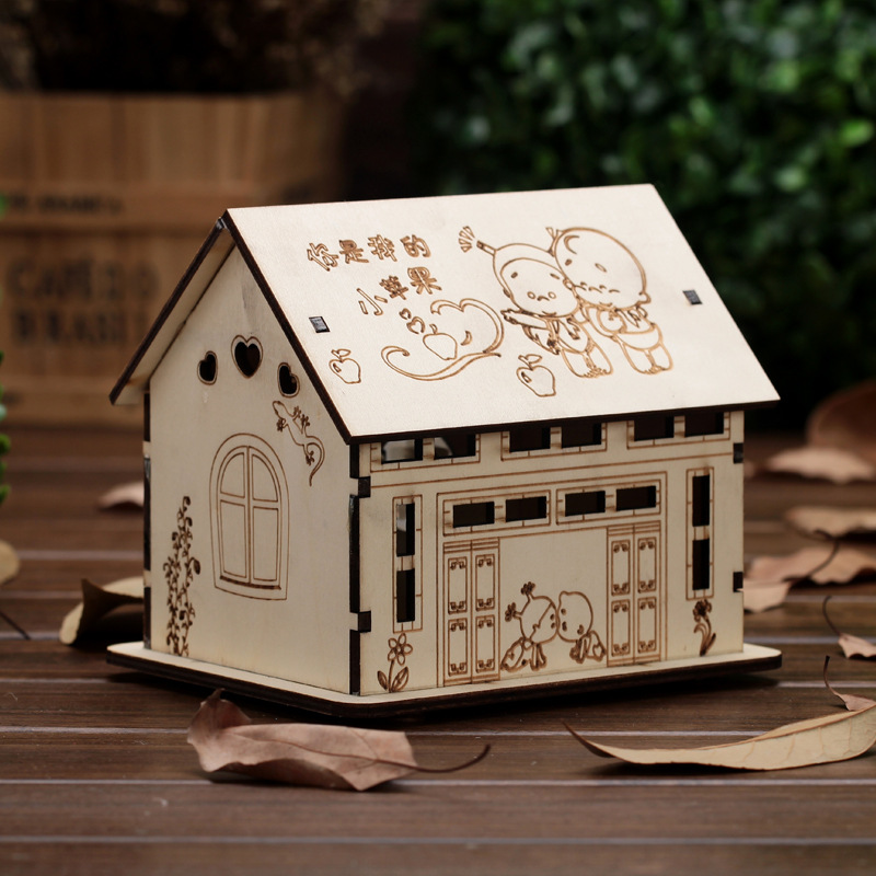 New arrival wood house money boxes wooden piggy bank for Home money box