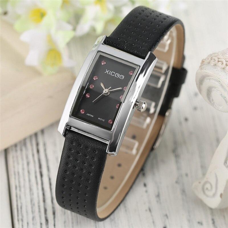 XICOO Elegant Rhinestones Design Ladies Dress Quartz Wristwatch Genuine Leather Band Trendy Women Watches Gift Reloj de damas