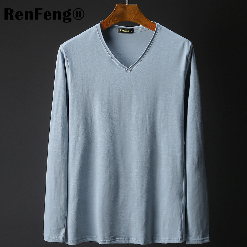 4a9f1bee4a Brand Designer Men Clothes Bamboo Cotton Vintage curly V neck T shirts  Casual Long Sleeve High quality Mens Blank tshirt 2019-in T-Shirts from  Men s ...
