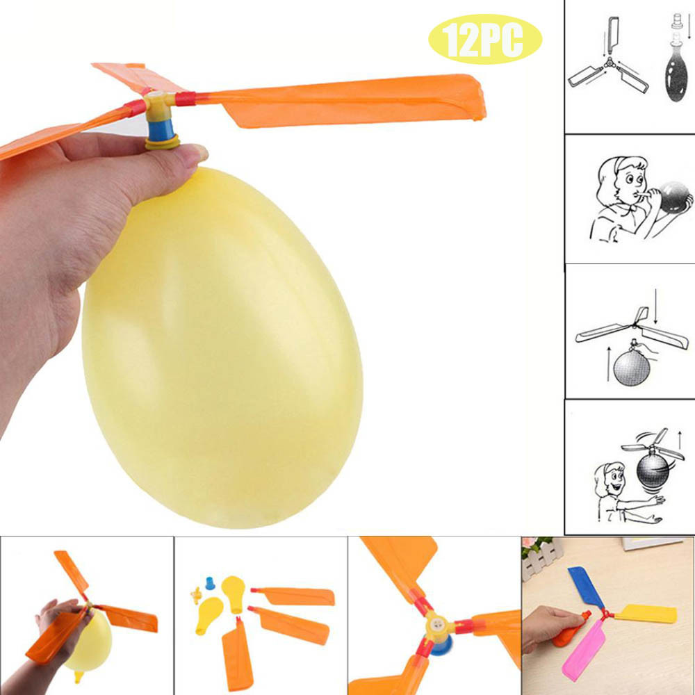 MUQGEW 12PC Balloon Helicopter Flying Toy Child Birthday Xmas Party Bag Stocking Filler toys for children Kids toys