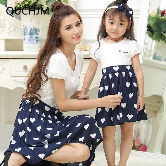 Family Matching Clothes Summer 2017 Short Sleeve Dress For Kids Women Heart  Print Girl Dresses Cotton 0b3eb429a5