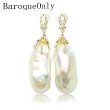 BaroqueOnly 925 sterling silver handmake  big baroque pearl earring AAAAA Zircon inlaid real natural freshwater irregular  pearl