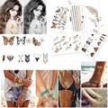 10x Waterproof Body Art Jewelry Makeup Tattoo Stickers Glitter Metal Gold + Silver Assorted Temporary Disposable Tattoos Tatoo