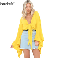 ForeFair Black White Yellow Sexy V Neck Lace UP Chiffon Blouse Women Fashion Summer Tops Flare