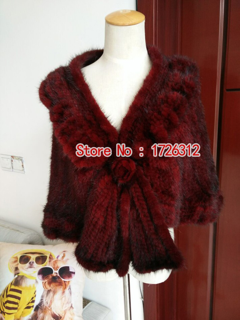 2016 new female mink fur coat mink cape cloak knit cardigan shawl