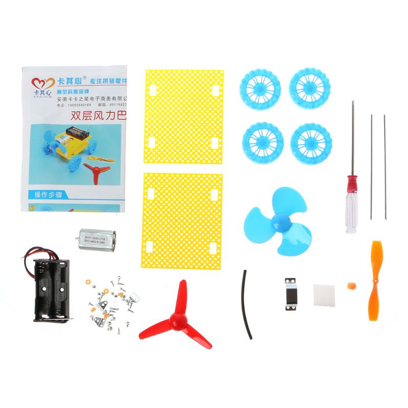 Creative DIY Assembled Mini Fan Wind Powered Car Model Science Experiment Kids Children Educational Toys in Parts Accessories from Toys Hobbies