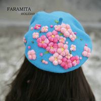 Faramita Holiday Flowers Colorful Pink Plants Women Hand made Spring Berets Girls Kids Boys Beret Hats Caps Wool Felt 3D Floral