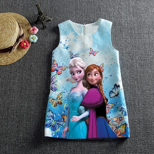 תינוקת שמלת קיץ ללא שרוולים אנה אלזה שמלות בנות מסיבת יום הולדת שמלת בגדי בני נוער עיצובים תינוק ילדים בגדים