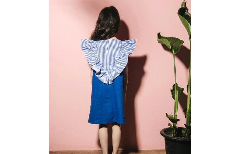 2018 fashion patchwork ruffles dress baby girls dresses for kids summer petal sleeve cotton princess dresses children clothing   (4)
