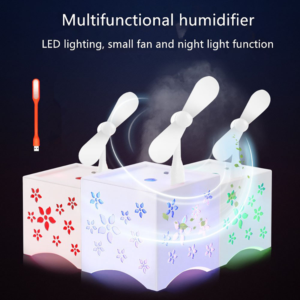 Cute Mini USB Fan Air Humidifier Corlorful LED Light Essential Oil Aroma Diffuser Aromatherapy Home Office Mist Maker Purifier new led usb humidifier mini aroma diffuser air humidifiers with aroma lamp aromatherapy diffuser mist maker with led light 220ml