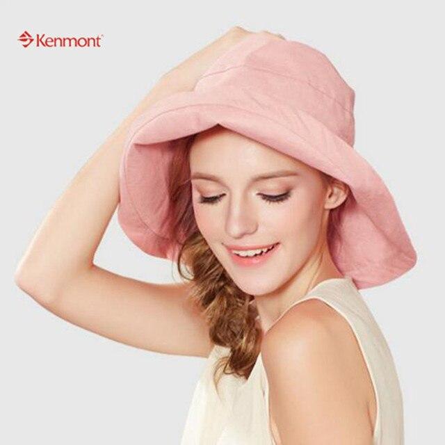 Новый 2015 Hat Cap Бренд Kenmont Боб Ведро Hat Лето Женщины Хлопок розовый Синий Светлый цвет Пляж Хлопок Крышки Шляпа Солнца как Подарок 3100