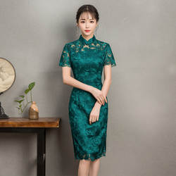 Новые зеленые кружевные традиционные пикантные короткий рукав Cheongsam Китайский Для женщин Тонкий платье элегантный женский Винтаж Qipao