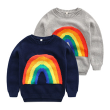 Baby pullovers autumn/winter 2016 new children's wear children's knitwear rainbow The boy round neck sweater
