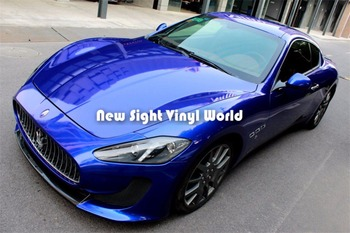 High Quality Glossy Candy Blue Vinyl Wrap Sheet Ultra Gloss Deep Blue Vinyl Car Body Film Air Bubble Free For Car Sticker