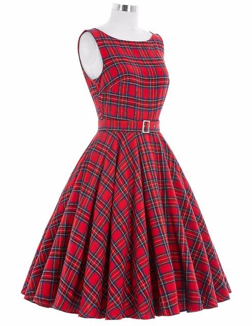 Women Dress 2016 Plus Size Vintage Sleeveless Crew Neck Cotton Party Dress 50s 60s Retro Vintage Rockabilly Party Picnic Dress
