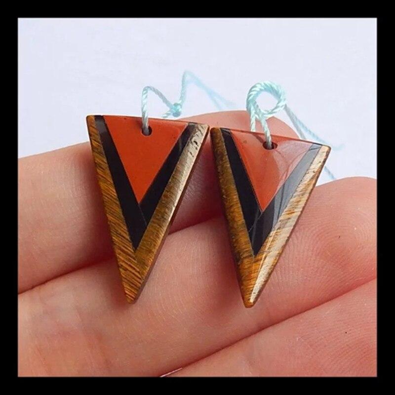 Natural Semi-precious stones,Blue Tiger's Eye,Red River Jasper,Obsidian Gemstone Intarsia Earring beads.25x15x3mm,2.8g semi sheer intarsia star sweater