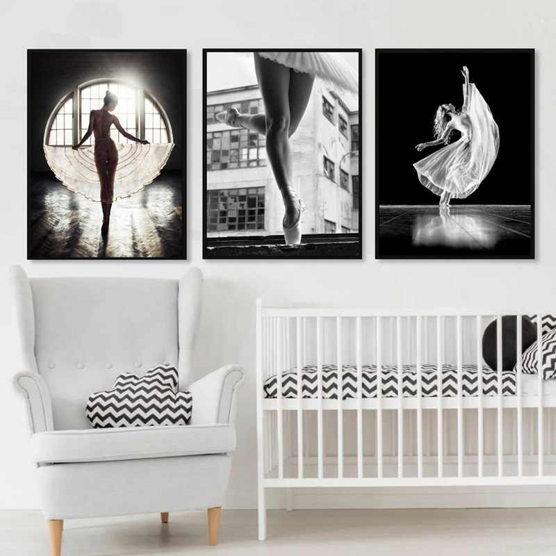 Beautiful Modern Girl Art Paintings Ballet Dance Canvas Posters and Prints Wall Pictures For Living Room Nordic Artwork No Frame