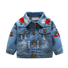 Girls Jean Jackets Kids Baby Rose Embroidery  Coat Long Sleeve Button Denim 1-5Y New