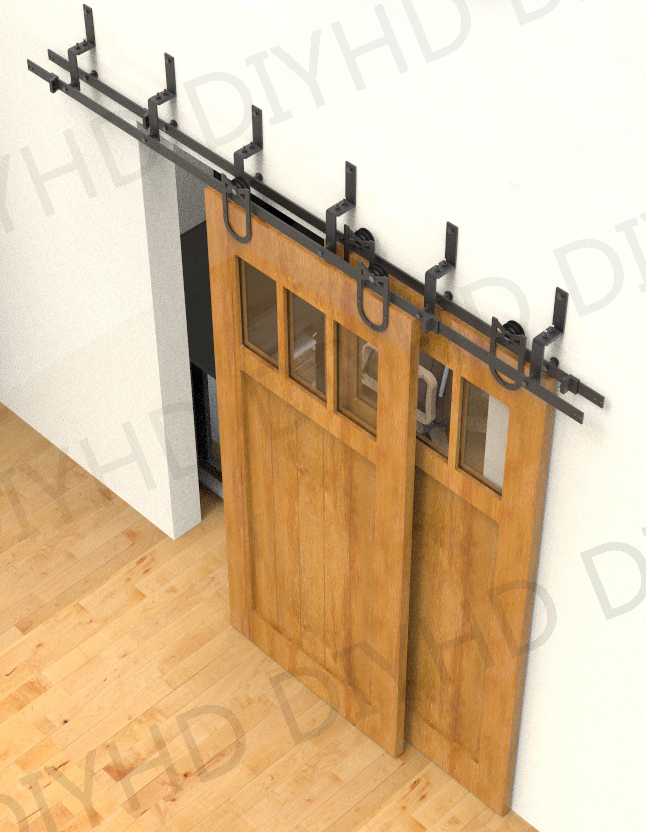 56668ft horseshoe bypass sliding barn wood closet door rustic black