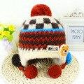 Invierno Lana Gruesa Bebé de Punto Sombrero de Los Niños del Oído Protect sombreros Boy Girl Infant Toddler Lindo Recién Nacido Del Ganchillo Beanie Cap XL101