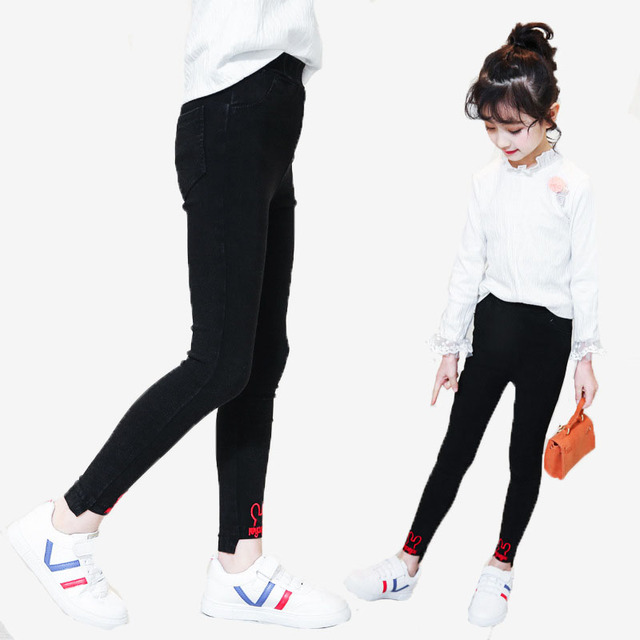 11fe27c34bf9 3-15T 2018 Korean Kids Pencil Pants For Girls Children Clothing Cotton Skinny  Jeans Baby Clothes Casual Girls Denim Trousers