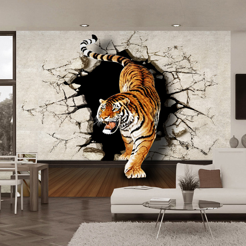 3d stereo lifelike tiger broken wall photo mural wallpaper living room dining room modern. Black Bedroom Furniture Sets. Home Design Ideas