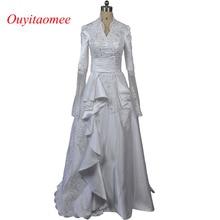 Fashion muslim wedding dress high neckline white lace appliqued long sleeve wedding gown turkey bridal dresses 2017 new arrival