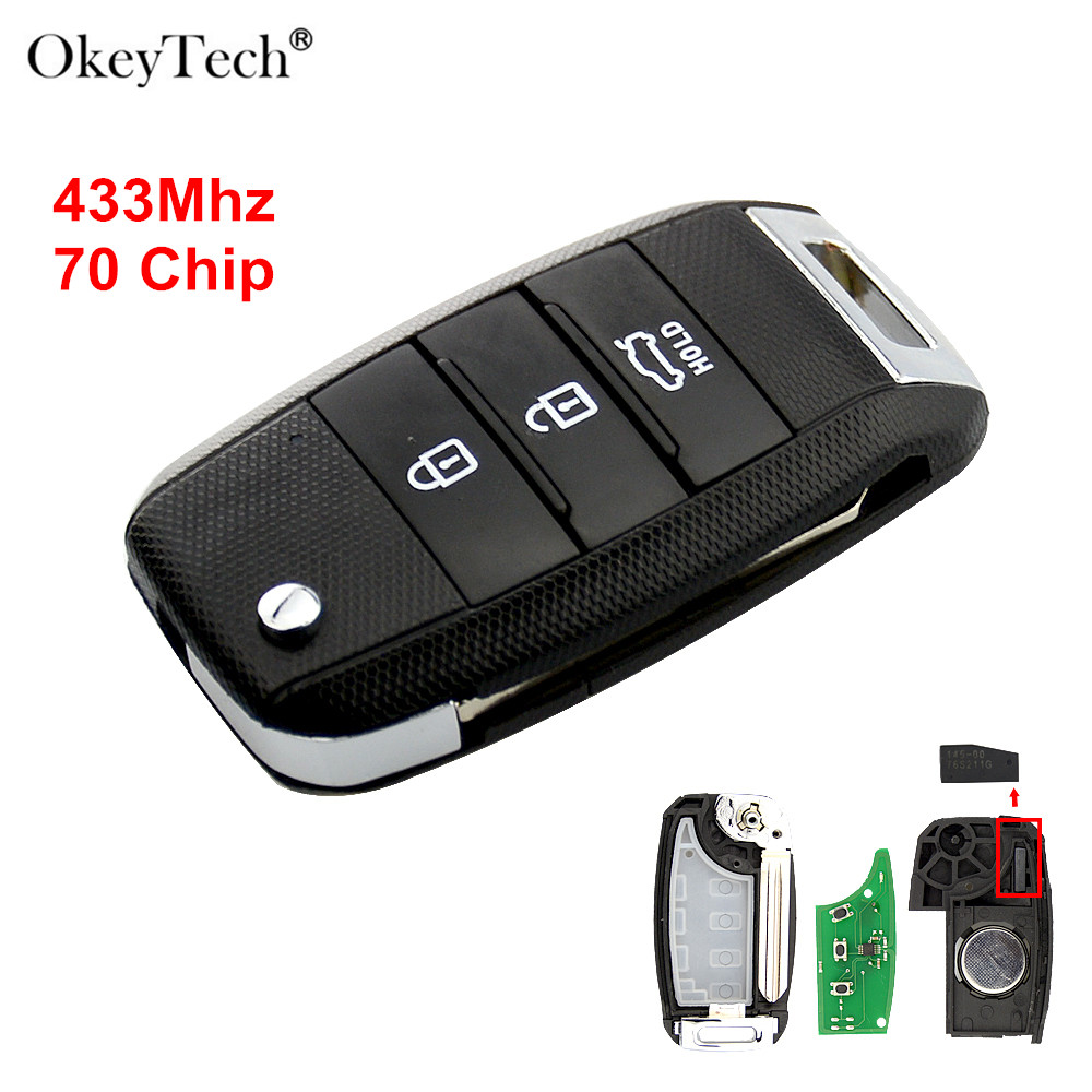 Okeytech 3 Taste Auto Flip Folding Smart Card Fernbedienung Schlüssel Für Kia K3 Remote Key 433mhz mit 70 Transponder chip Uncut Blank Klinge