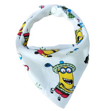 Baby Bibs Triangle Double Cotton Bibs Cartoon Print Saliva Towel baby feeding Apron Cotton Bandana Bibs(China)