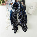 High Quality Silk Scarf Spring The New European American Fashion Wild Womens Scarf Mesh Flower Vine Soft Silk Imitation Shawl