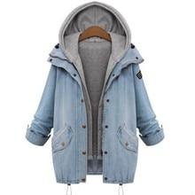 2016 New Fashion Winter Jackets Women Long Sleeve Hooded Loose Denim Coats Two-Piece Cowboy Coats Jean Jackets Plus Size M-4XL