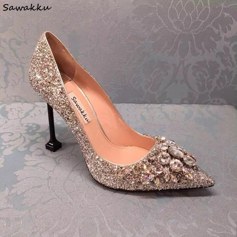 Fashion Sexy Pointed Toe Bride Wedding Shoes Bling Bling Rhinestone High Heels Pumps Clear Crystal Cinderella Shoes Woman 2018 apoepo handmade wedding bride shoes bling bling crystal pregnant shoes 3 5 cm increased internal low heels shoes mary janes shoe