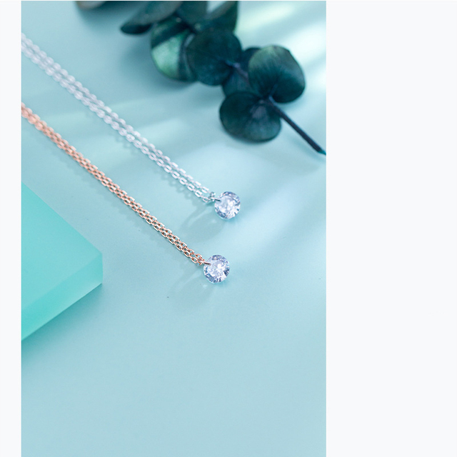 Colusiwei 925 Sterling Silver Silver Invisible Chain Necklaces Pendants Cubic Zirconia Choker Necklaces Link Chain female