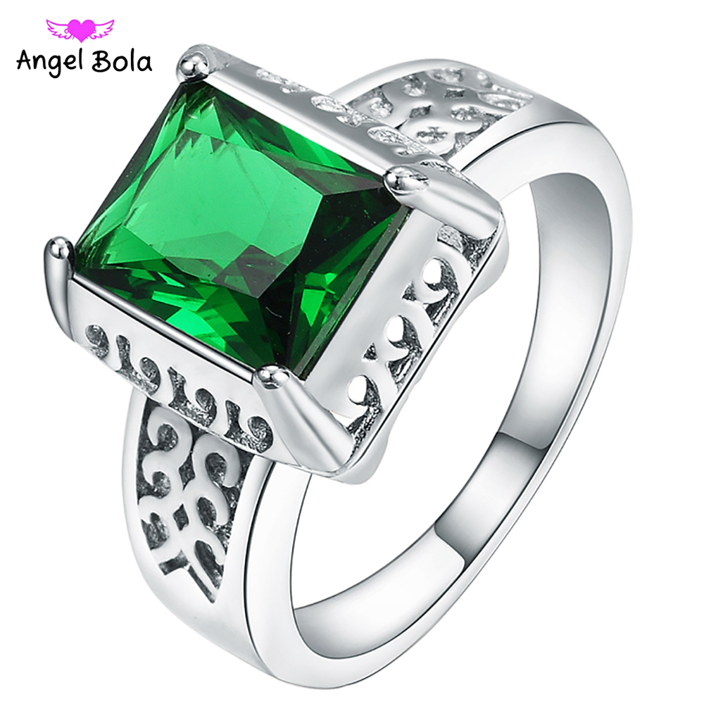 AAA CZ Square Green Crystal Ring 2018 New Fashion Mens Rings 925 Sterling Silver Ring R-030 Free Shipping