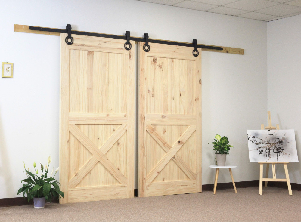 Diyhd 6 6ft black gear shape double sliding barn wood door - Barn door interior sliding doors ...
