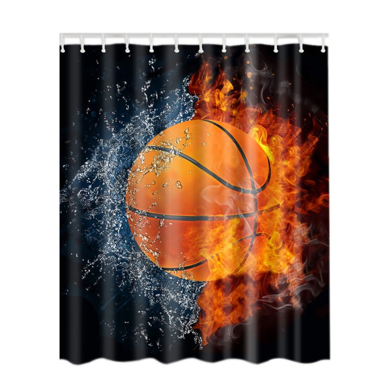polyester shower curtain bathroom decor home decorations tattoo flower soccer