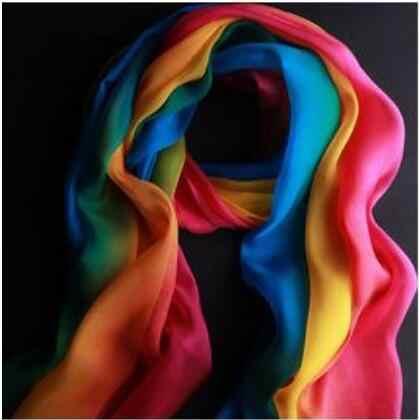 ใหม่แฟชั่นสายรุ้งสีผู้หญิงยาวนุ่มผ้าพันคอชีฟองผ้าคลุมไหล่ผ้าพันคอ (โลหะ)