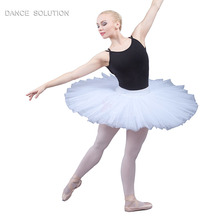 Professionalซ้อมTutuสำหรับเด็กและผู้ใหญ่บัลเล่ต์เต้นรำครึ่งTutuกระโปรง 7 ชั้นแข็งTulle Pancak Tutu BLL001