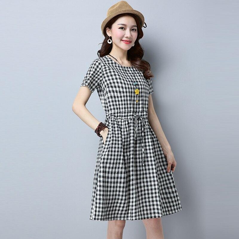 964ab77b186 В специальное предложение каждый день женские Новое летнее платье клетчатые  хлопковые свободные в с длинными рукавами белье слово купить на AliExpress