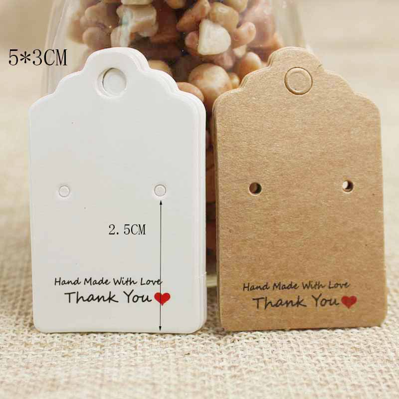 5*3cm Kraft/white DIY Handmade With Love  Jewelry Dispaly & Package Hanging Card Cute Stud Earring Tag Card 100pcs Per Lot