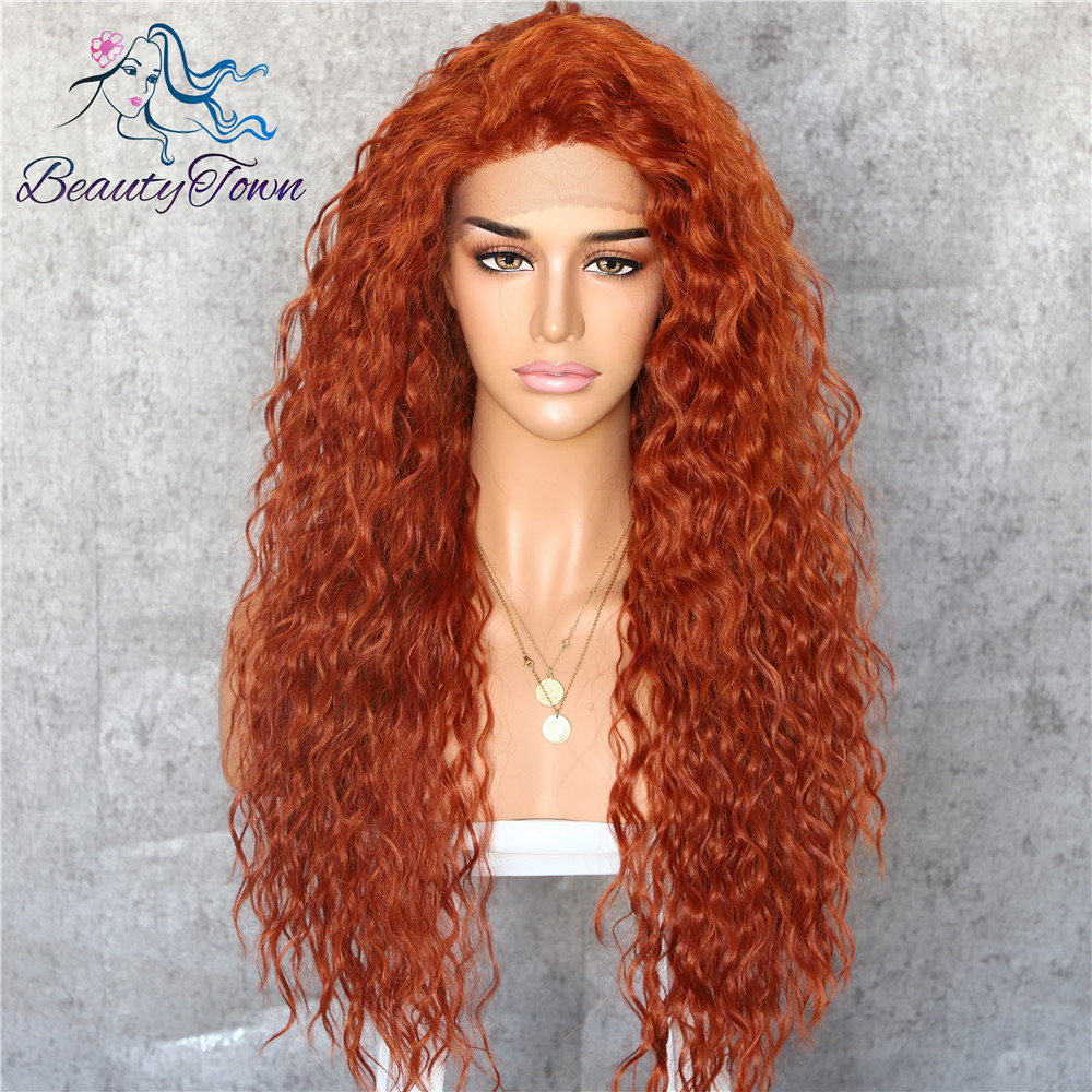 Image 5 - BeautyTown Kinky Curly Type Futura Heat Resistant Hair Black Color Women Daily Makeup Synthetic Lace Front Party Wigs-in Synthetic Lace Wigs from Hair Extensions & Wigs