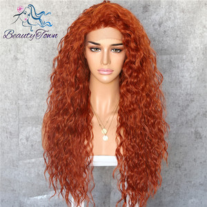Image 4 - BeautyTown Kinky Curly Type Futura Heat Resistant Hair Black Color Women Daily Makeup Synthetic Lace Front Party Wigs