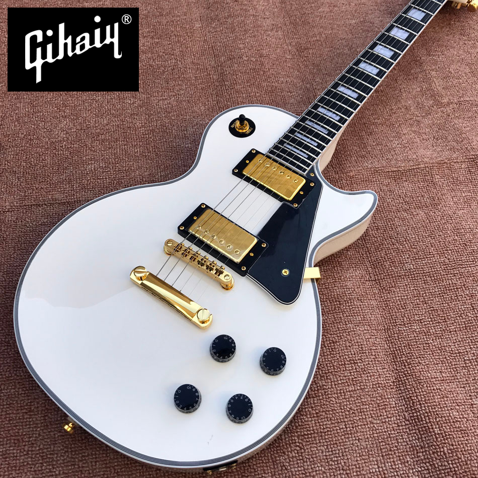 New style high-quality custom LP electric guitar, Ebony Fingerboard electric guitar, Gold hardware, free shipping new high quality black custom lp electric guitar 2 piece of p90 pickups electric guitar with chrome hardware free shipping