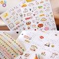 Encantador lindo 6 Hoja de Pegatinas de Papel de Diario Bloc de Notas Notebook Decoración de La Pared DIY Scrapbooking Pegatinas de Dibujos Animados Los Niños Juegan Los Juguetes