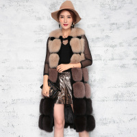New Arrival Women Winter Sleeveless Long Round Neck Coffee Color Slim Full Pelt Thick Warm Faux Fur Vest XHSD 332