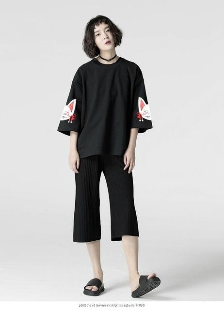 Harajuku Women T-shirt Fashion Hiphop Street Japanese Funny Cat Print Black Tops Female T Shirts Punk Funk Rock Seven Sleeve 1
